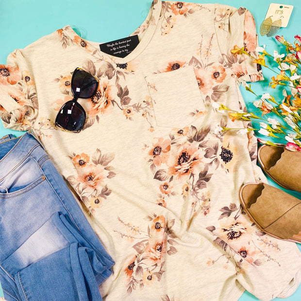 oatmeal floral short sleeve top