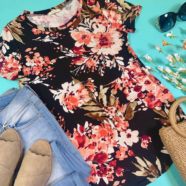 short sleeve floral top black