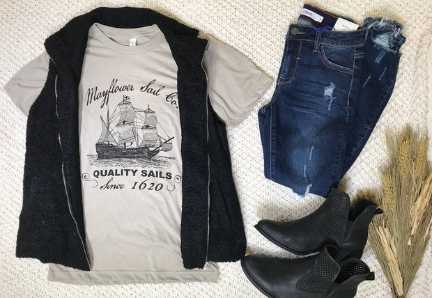 Mayflower Sail Co. Graphic Tee, THANKSGIVING, GRAPHICS, badhabitboutique