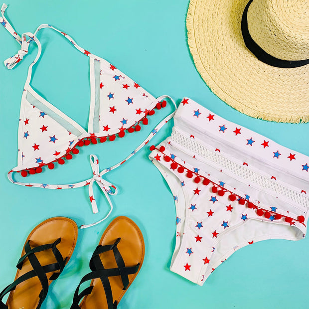 stars and pom pom mesh detail bikini