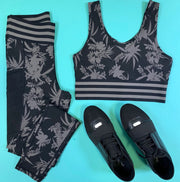 Striped Band Tropical Silhouette Print Sports Bra, CLOTHING, Mono B, BAD HABIT BOUTIQUE