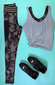 Highwaist Striped Band Tropical Silhouette Print Leggings, CLOTHING, Mono B, BAD HABIT BOUTIQUE