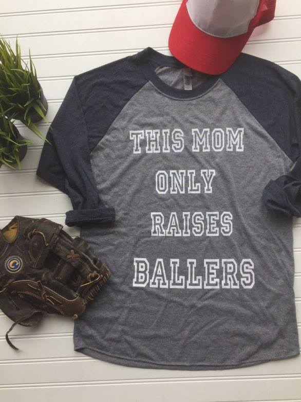 This Mom Only Raises Ballers  3200 Navy/Gray - BAD HABIT BOUTIQUE