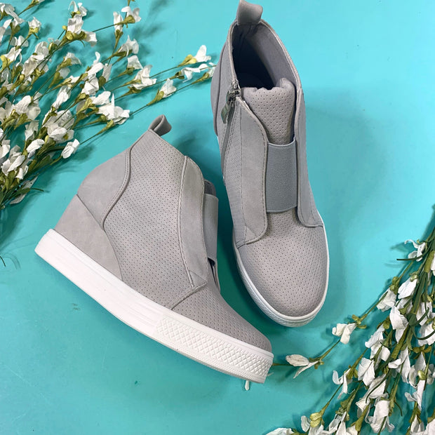 gray bootie wedges sneakers