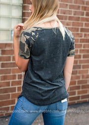 Distressed Top with Contrast Camo, SALE, BiBi, badhabitboutique