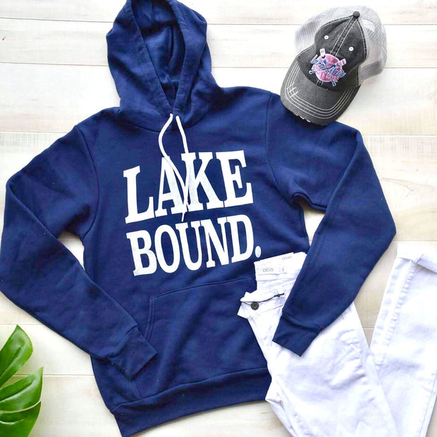 Lake Bound Navy Hoodie, LAKE, GRAPHICS, badhabitboutique