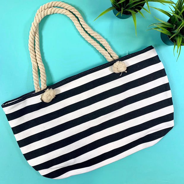 black and white striped canvas tote with string handles
