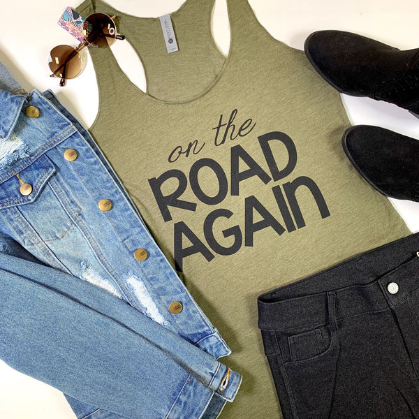 On the Road Again Racerback Olive Tank, CLOTHING, BAD HABIT APPAREL, BAD HABIT BOUTIQUE