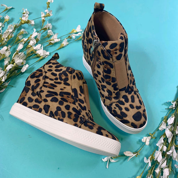 leopard wedges booties