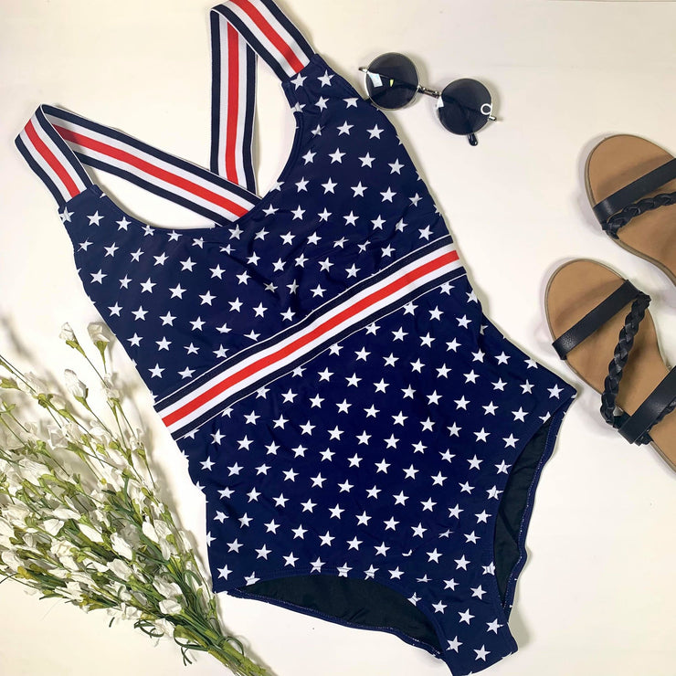 stars navy swimsuit striped elastic accent