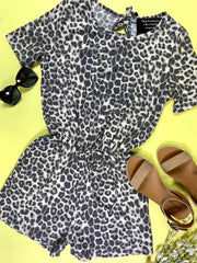 leopard thermal romper with tie at the back