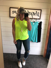 twist tank top in mint black and yellow