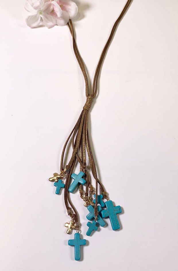faux suede leather turquoise cross gold cross necklace