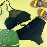 Mesh Accents High Neck and Highwaisted Black Bikini | FINAL SALE - BAD HABIT BOUTIQUE