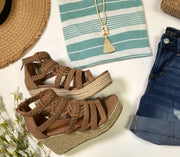 suede wedge taupe