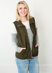 Popcorn Vest with Zipper olive