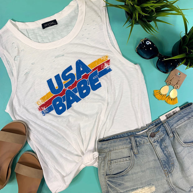 USA babe high low side slit raw edge distressed white tank top