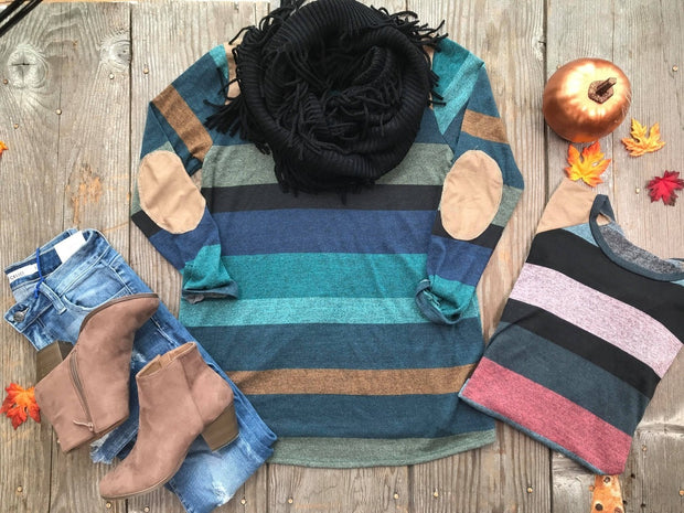 Striped Sweater with Suede Elbow Patch