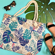 beige tropical tote handbag colorful