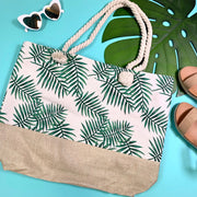 colorblock palm leaves tote handbag