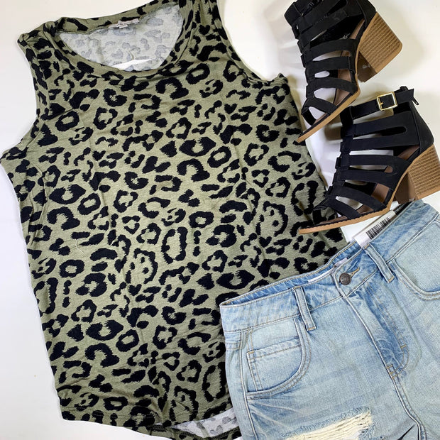 sleeveless olive tank high low cutout back cheetah