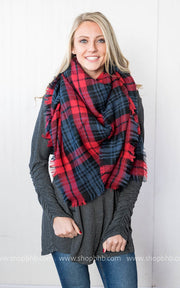 Plaid Blanket Scarf | Red/Navy/Black