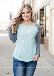 Baby Its Cold Outside Elbow Patch-Mint, CLOTHING, BAD HABIT APPAREL, BAD HABIT BOUTIQUE