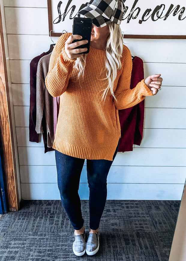 Lightweight Knitted Side Slit Sweater