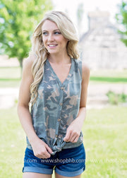 Sleeveless Front Tie Top | Camo