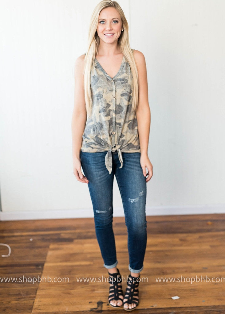 Camo Button Up Tank, BLACK FRIDAY, 143 Story, badhabitboutique