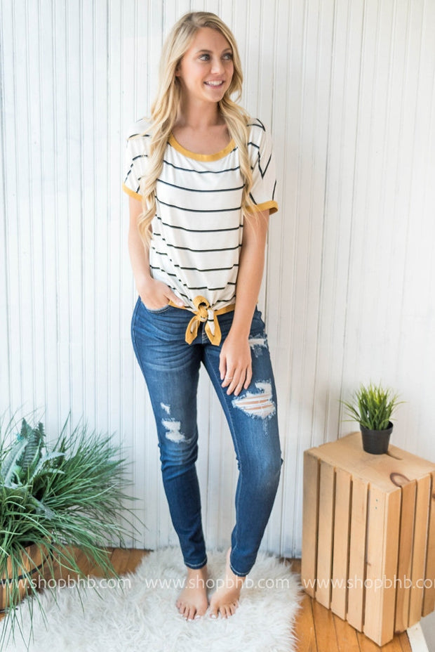 Tie Front Top Striped | Mustard