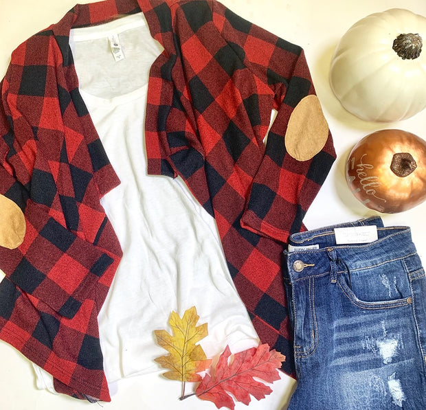 kids buffalo plaid waterfall cardigan suede elbow patch cardigan