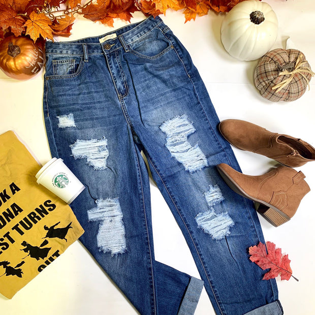 denim boyfriend distressed medium high rise jeans