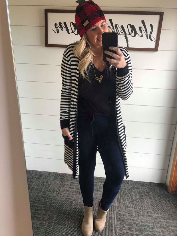 black and white striped lightweight long cardigan