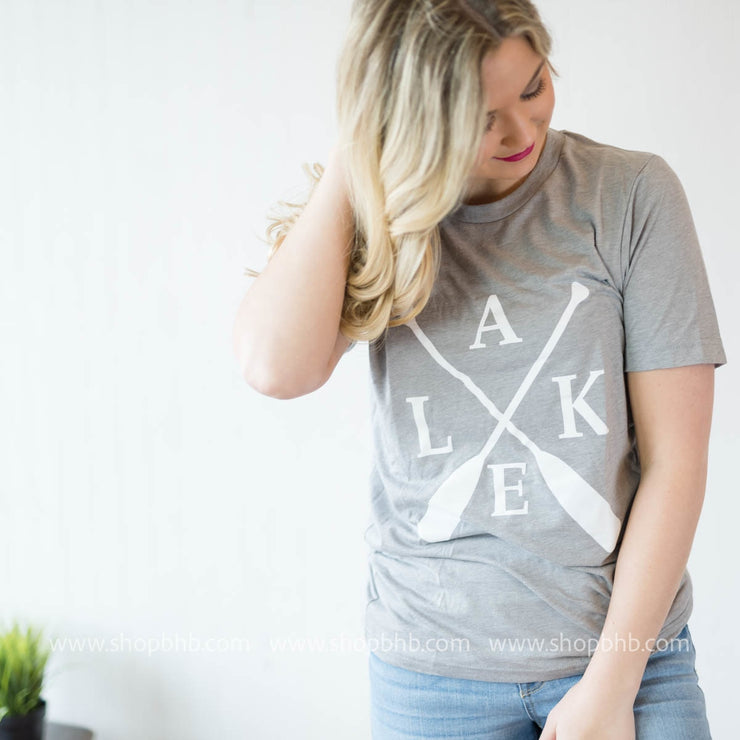 Lake Paddle Tee - Grey, WHAT'S NEW, GRAPHICS, badhabitboutique