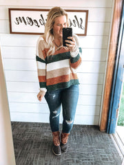 striped vneck chenille sweater, andree, colorblock sweater, sweaters