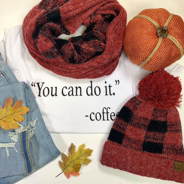 C.C. Red Buffalo Plaid Hat and Infinity Scarf - Final Sale