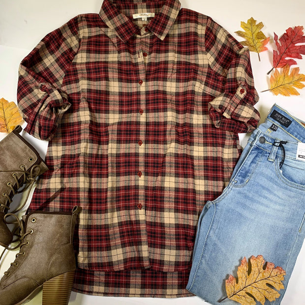 flannel tunic button down rolled sleeve plaid red top