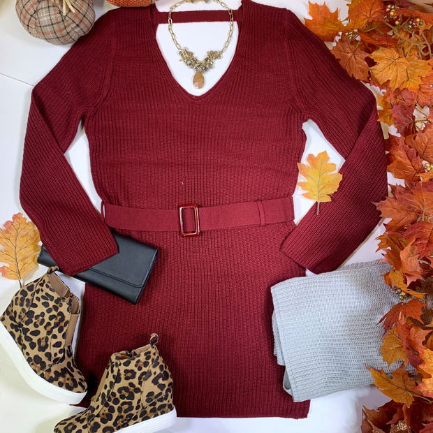 wine belted sweater body con dress, sweater dresses, dresses, HyFve