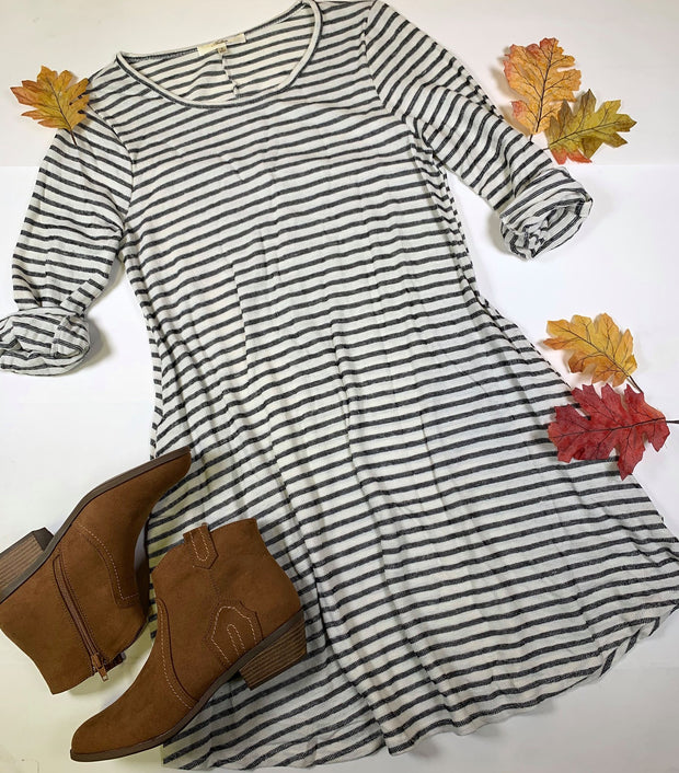 striped long sleeve crew neck short dress