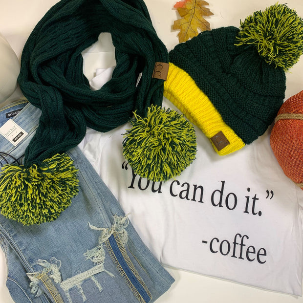 CC Pom Pom Green Gold Scarf and Beanie -sold separate - FINAL SALE
