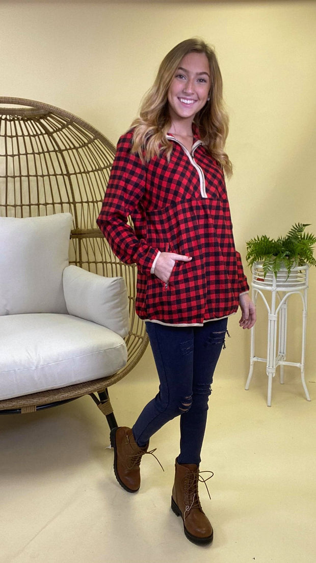 Buffalo Plaid 3/4 Zipper Long Sleeve Top | FINAL SALE, CLOTHING, andree by unit, BAD HABIT BOUTIQUE