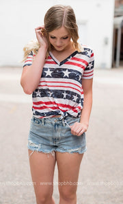 American Flag Printed Tee | Red-FINAL SALE, WHAT'S NEW, vendor-unknown, BAD HABIT BOUTIQUE