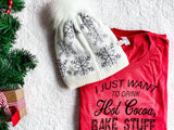Holiday Deal - Snowflake Beanie with Faux Fur Pom Pom, ACCESSORIES, BAD HABIT BOUTIQUE , BAD HABIT BOUTIQUE