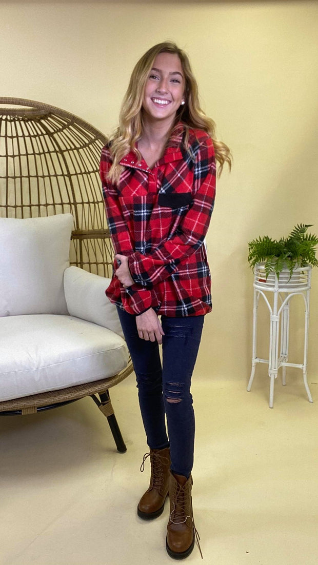 3/4 button red plaid sweater