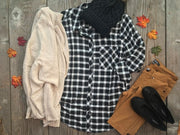 Checkered Plaid Button Down | Black, SALE, Staccato, badhabitboutique