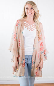 Floral Shear Kimono | Taupe, SALE, vendor-unknown, badhabitboutique