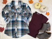 Taupe/Wine/Ivory Plaid Button Up