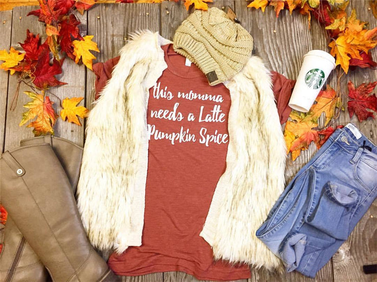 Mama Needs A Latte Pumpkin Spice -copper, THANKSGIVING, GRAPHICS, badhabitboutique
