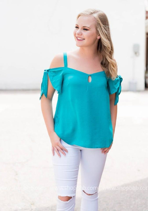 Cold Shoulder Top with Keyhole and Ties | Teal, SALE, Lumiere, badhabitboutique